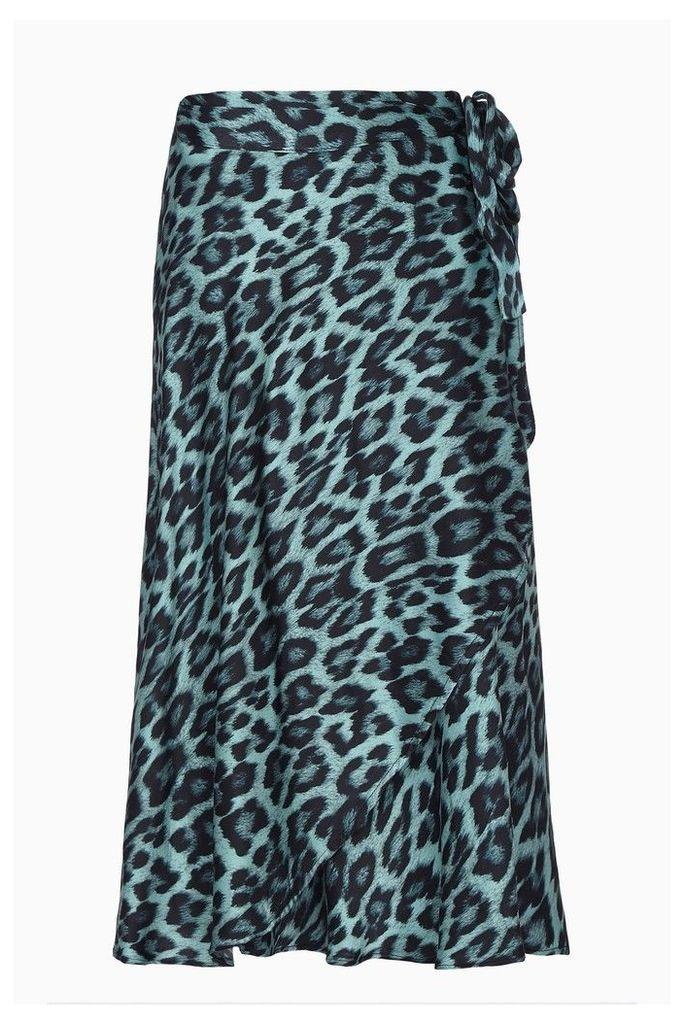 Womens Ghost London Leopard Jayne Blue Leopard Print Wrap Skirt -  Animal