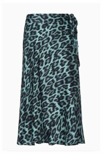 Womens Ghost London Leopard Jayne Blue Leopard Print Wrap Skirt -  Animal