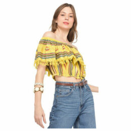 Miss June  Striped blouse  women's Blouse in Yellow
