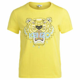Kenzo  T-shirt in cotone giallo con tigre multicolor stampata  women's T shirt in Yellow