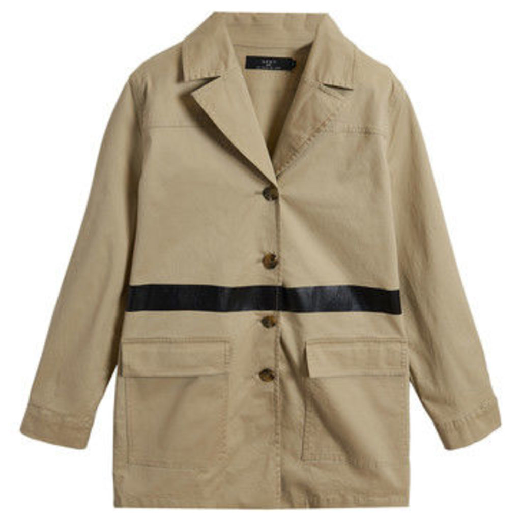 On Parle De Vous  Straight trench contrast band  women's Coat in Beige