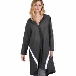 On Parle De Vous  Windbreak contrast band  women's Coat in Black