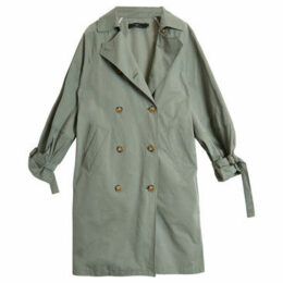 On Parle De Vous  Double-breasted straight trench  women's Coat in Green