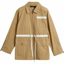 On Parle De Vous  Parka mid-length contrasting stripes  women's Parka in Beige
