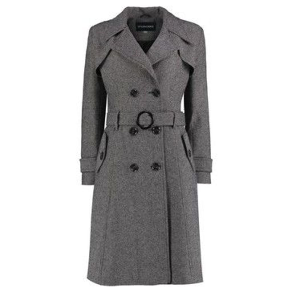 De La Creme  Herring Bone Tweed Winter Trench Coat  women's Coat in Black