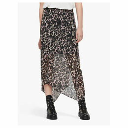 AllSaints Rhea Leopard Print Skirt, Yellow