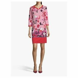 Betty Barclay Floral Round Neck Dress, Red Mid
