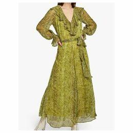 Ghost Everly Ruffle Snake Print Dress, Green