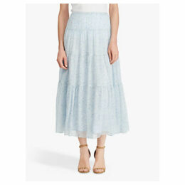 Ralph Lauren Floral Georgette Peasant Skirt, English Blue