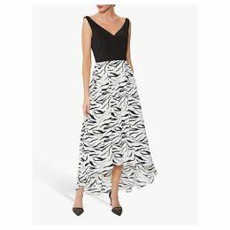 Gina Bacconi Narine Zebra Print Dress, White/Black
