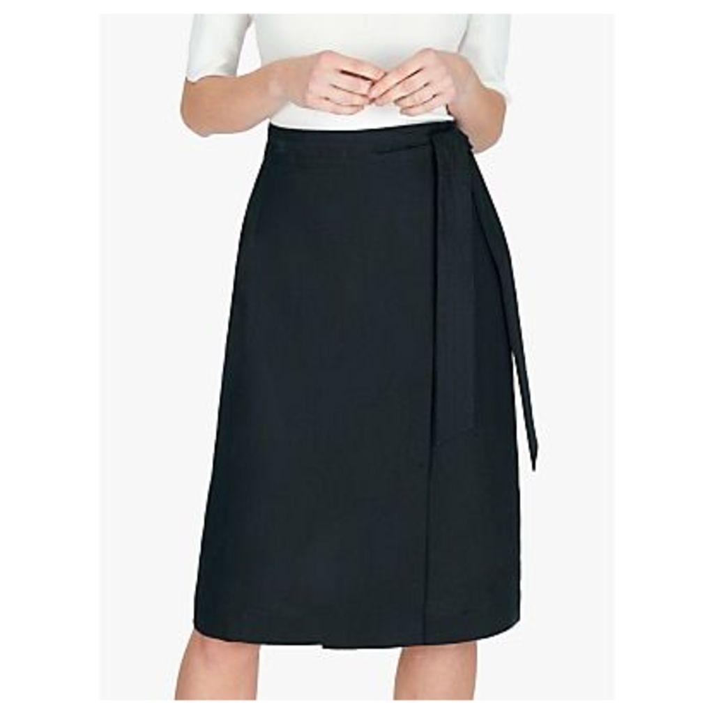 Jaeger Linen Wrap Skirt, Navy