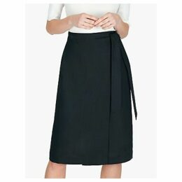 Jaeger Linen Wrap Skirt, Navy