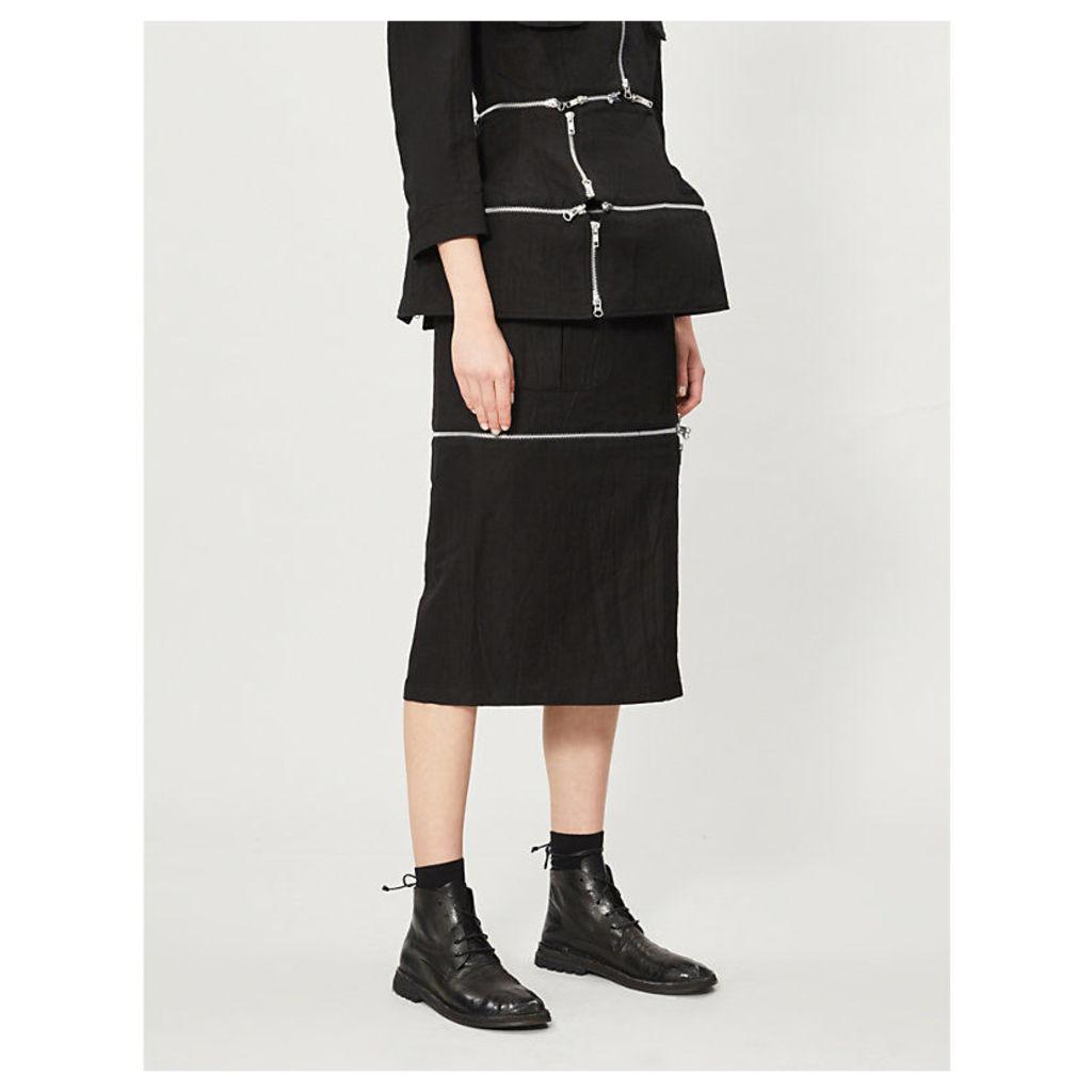 Zip-embellished crepe midi skirt