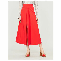 Hattori high-waist crepe midi skirt