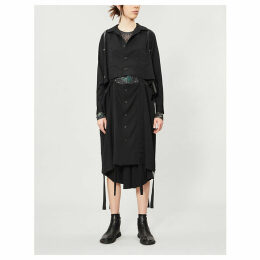 Layered frayed-trim wool coat
