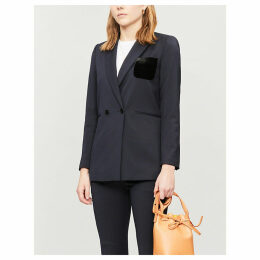 Double-breasted woven suit blazer