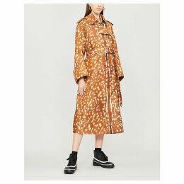 Deer-print shell trench coat