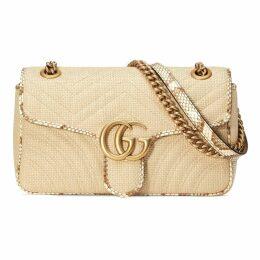 GG Marmont raffia small shoulder bag