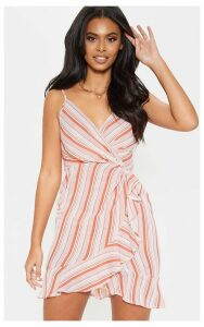 Rust Stripe Ruffle Tea Dress, Orange
