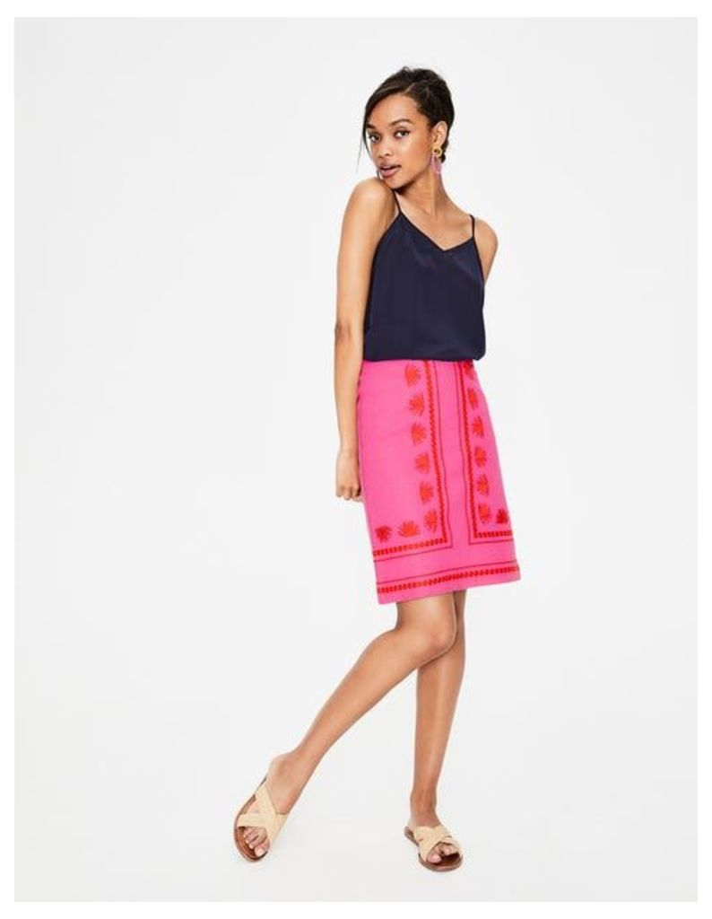 Victoria Embroidered Skirt Pink Women Boden, Pink