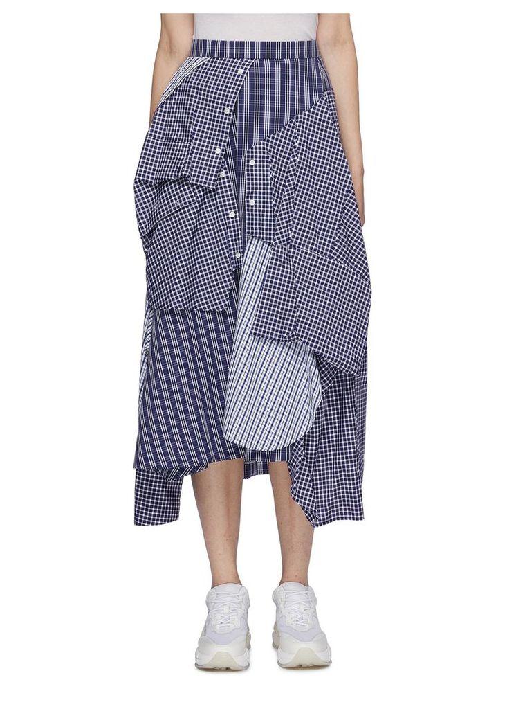 Asymmetric mix check patchwork skirt