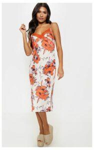 Orange Lace Trim Tropical Print Midi Shift Dress, Orange