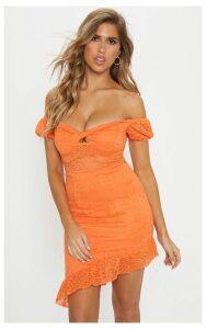 Bright Orange Lace Twist Front Asymmetric Hem Bodycon Dress, Bright Orange