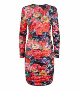 Parisian Pink Floral Ruched Bodycon Dress New Look