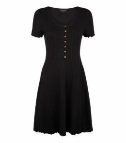 Tall Black Ribbed Button Up Skater Dress New Look