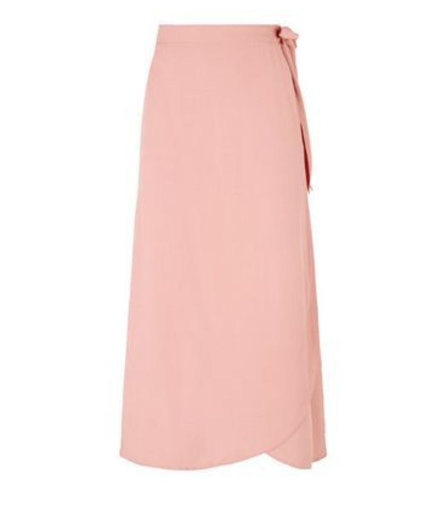 Pale Pink Wrap Midi Skirt New Look