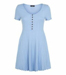 Petite Pale Blue Button Up Skater Dress New Look