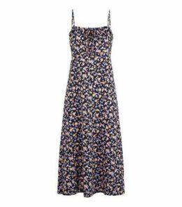 Black Floral Print Strappy Midi Dress New Look