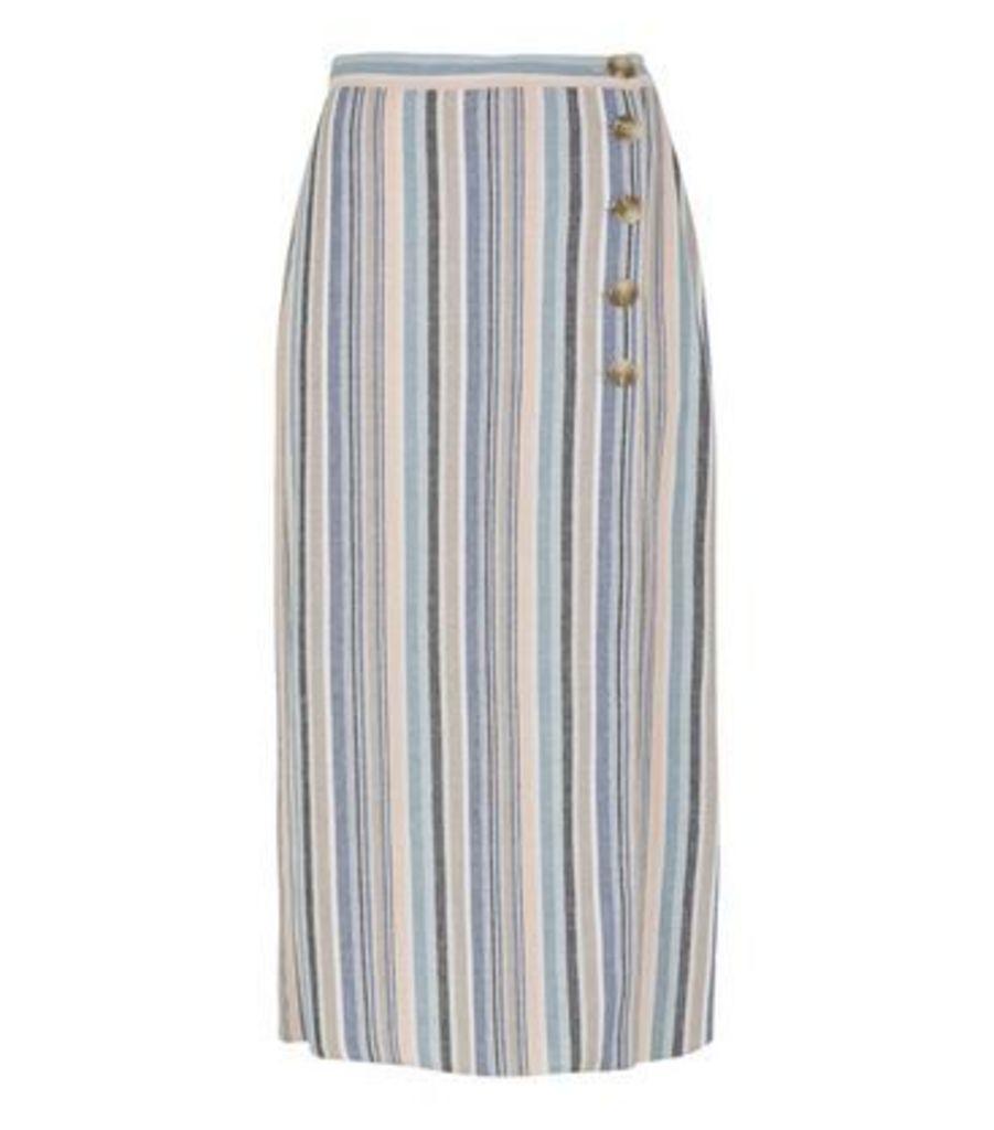 Pink Stripe Linen Look Button Up Midi Skirt New Look