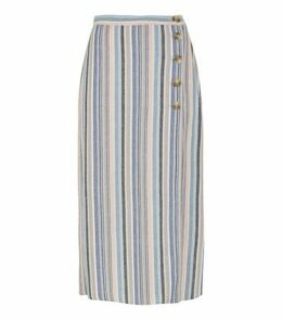 Pink Stripe Linen Look Button Up Midi Skirt New Look