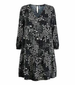 Black Floral V Neck Smock Dress New Look