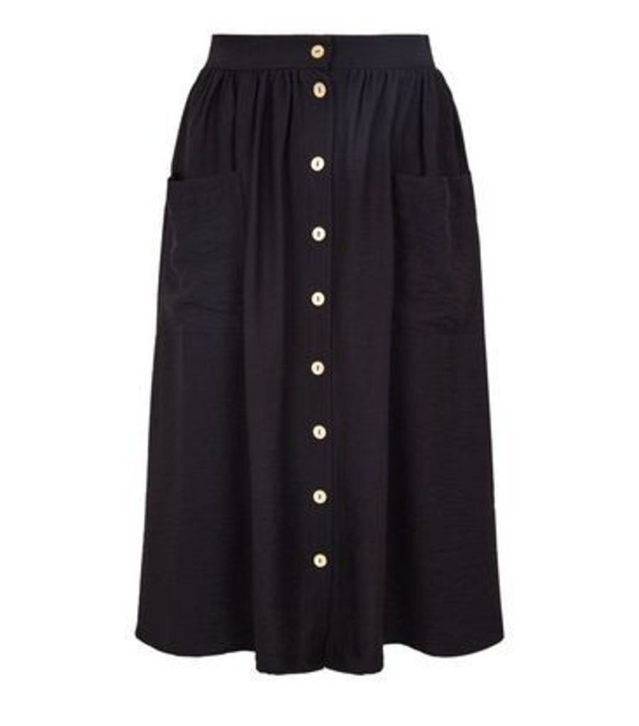 Petite Black Twill Button Front Midi Skirt New Look