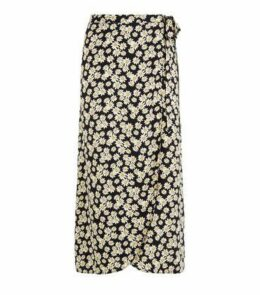 Black Daisy Wrap Midi Skirt New Look