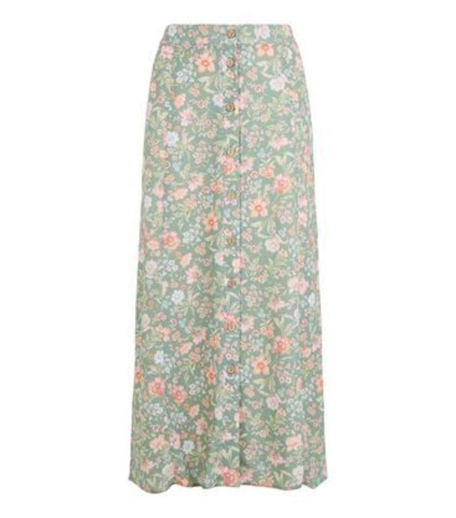 Green Floral Bias Cut Midi Skirt New Look
