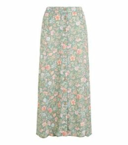 Green Floral Bias Cut Midi Skirt New Look