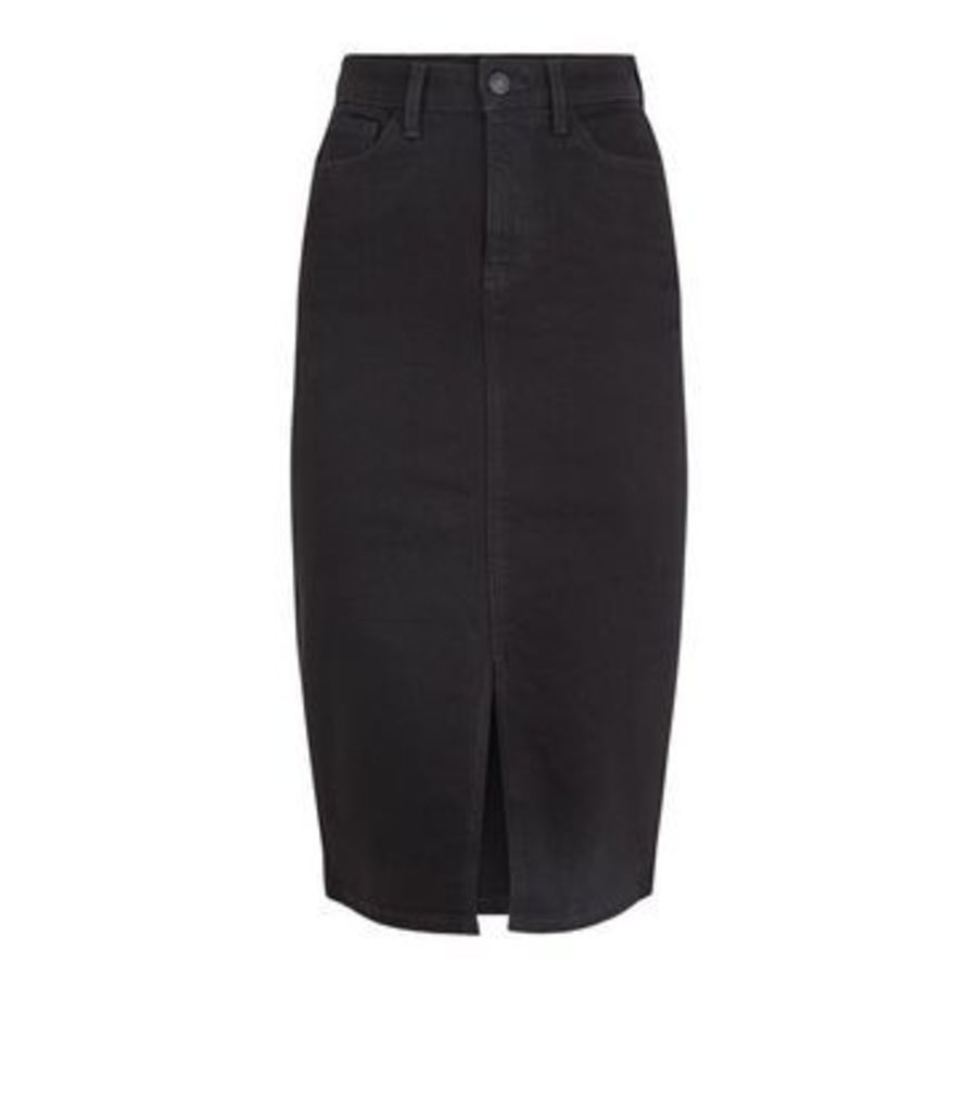 Black Front Split Denim Midi Skirt New Look