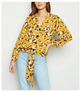 Blue Vanilla Yellow Floral Tie Front Blouse New Look