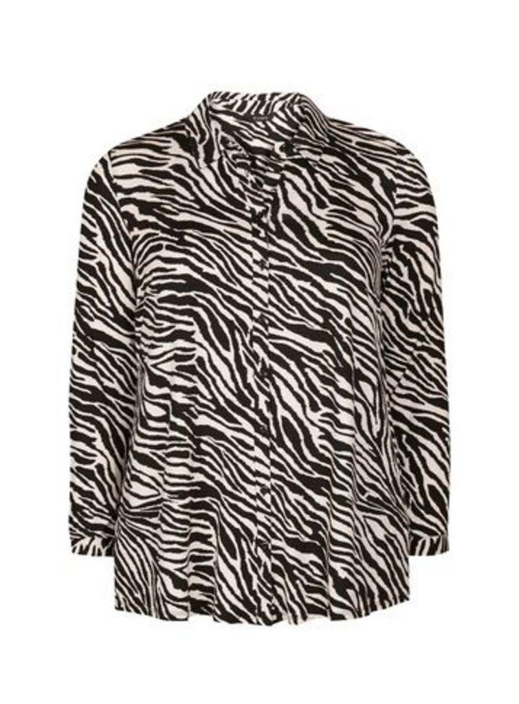 Black Zebra Print Shirt, Black