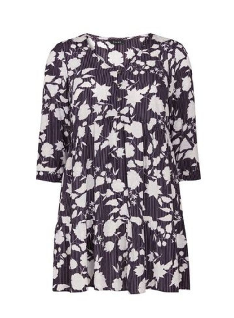 Navy Blue Floral Stripe Print Tunic, Navy