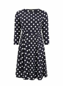Navy Blue Spot Print Fit And Flare Dress, Navy