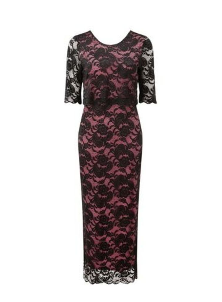 **Grace Pink Lace Maxi Dress, Black