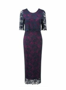 **Grace Navy Blue Lace Maxi Dress, Navy