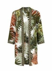 Ivory Palm Print Kimono, Ivory