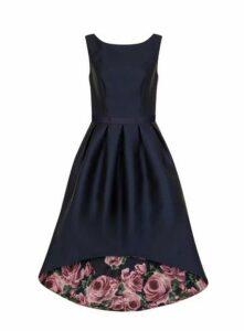 **Chi Chi London Navy Dip Hem Dress, Navy