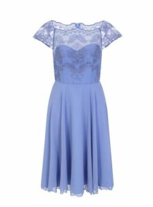 **Chi Chi London Blue Lace Skater Dress, Mid Blue
