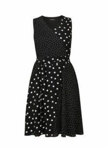 Black Spot Print Mix And Match Skater Dress, Black